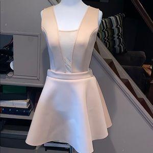 Blush colored scuba cut out a line dress